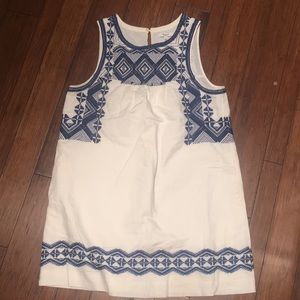 Madewell off white and blue embroidered dress
